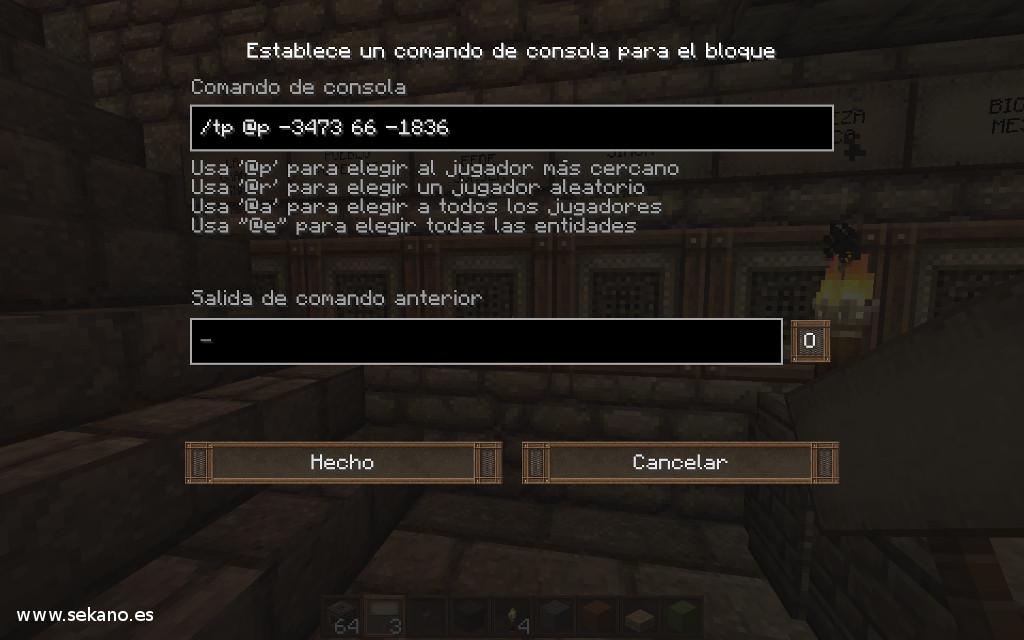 Comando teletransportación en Minecraft