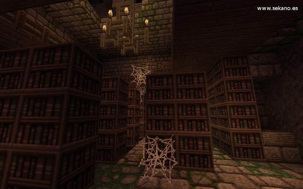 Biblioteca abandonada en Minecraft